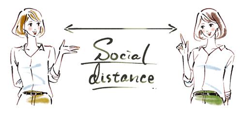 距離を空けて会話するソーシャルディスタンスのイラスト