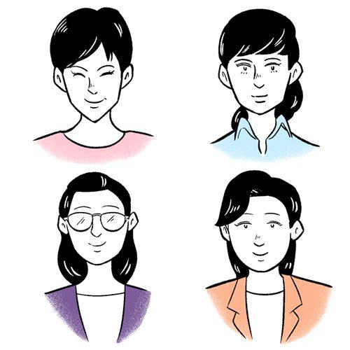 4人の女性のショルダーアップイラスト
