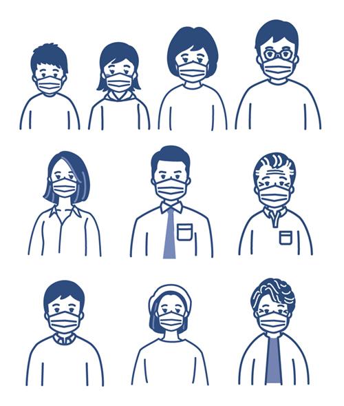 マスクをした人々のイラスト