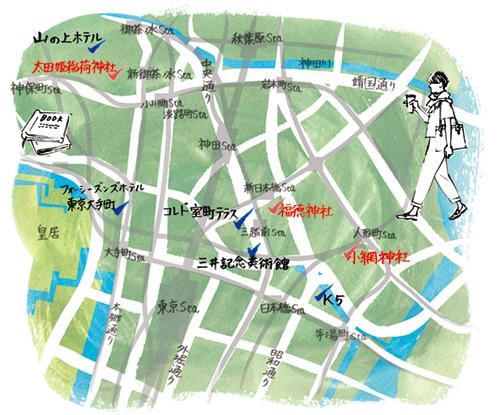 神保町のマップイラスト
