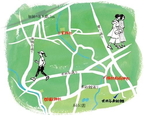 世田谷砧公園のマップイラスト