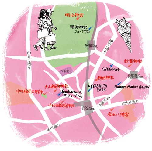 渋谷区のマップイラスト
