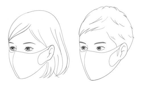 女性と男性の線画イラスト