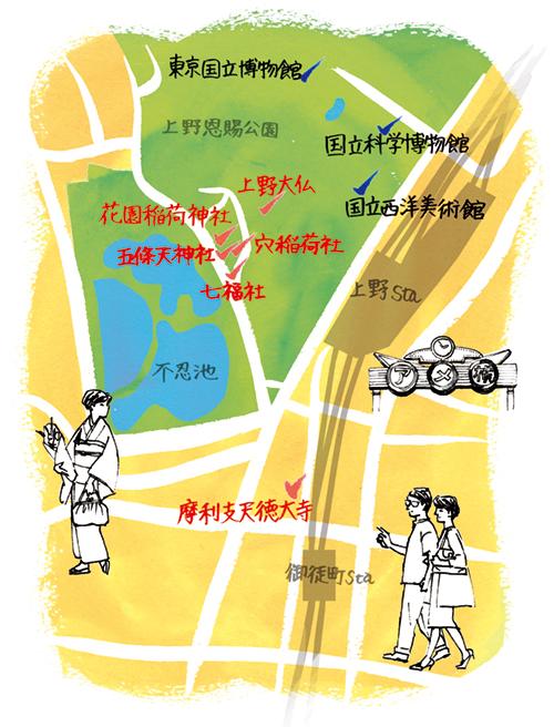 上野のマップイラスト