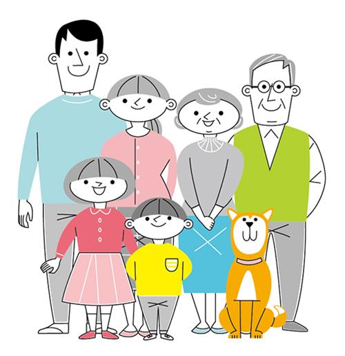 線画で描いた3世代の家族イラスト