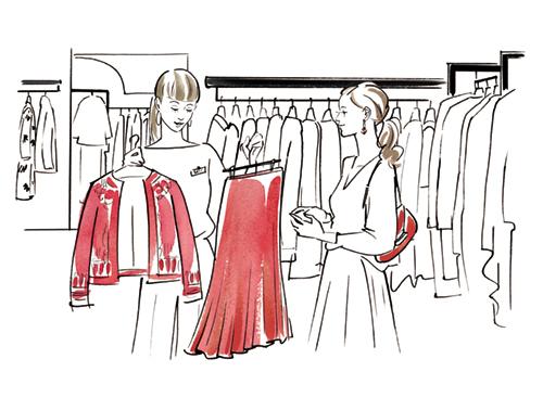 洋服を選んでいる女性のイラスト