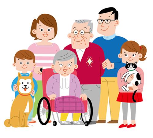 面塗りにで描いた3世代家族のイラスト