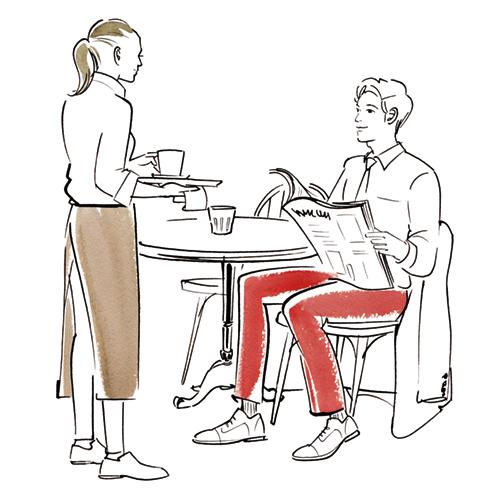 カフェでくつろぐ男性のイラスト
