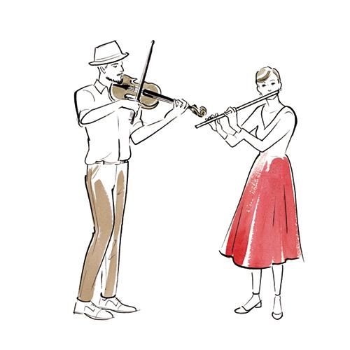楽器で演奏する男女のイラスト