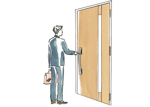 帰宅してドアの前に立つお父さんのイラスト