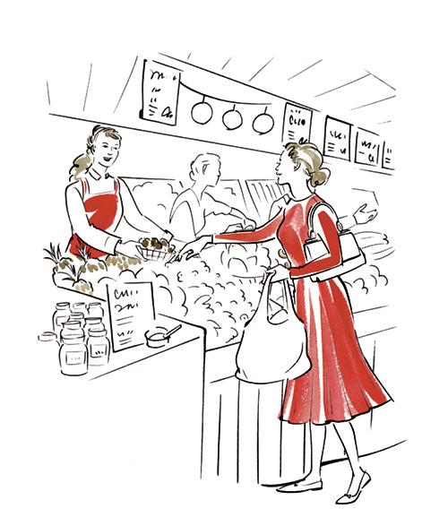 マルシェで買い物をする女性のイラスト