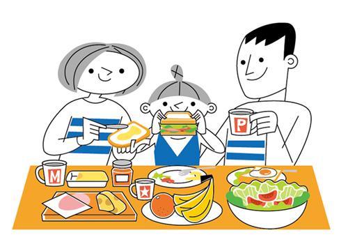 食事している家族のイラスト