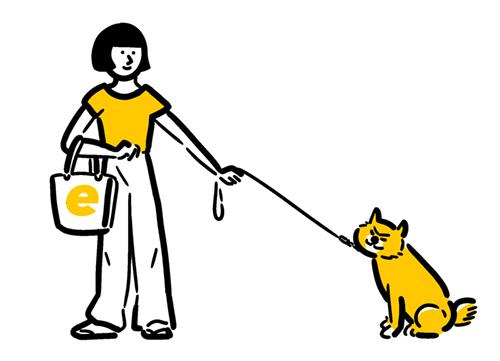 トートバッグを持って犬の散歩に行く女性のイラスト