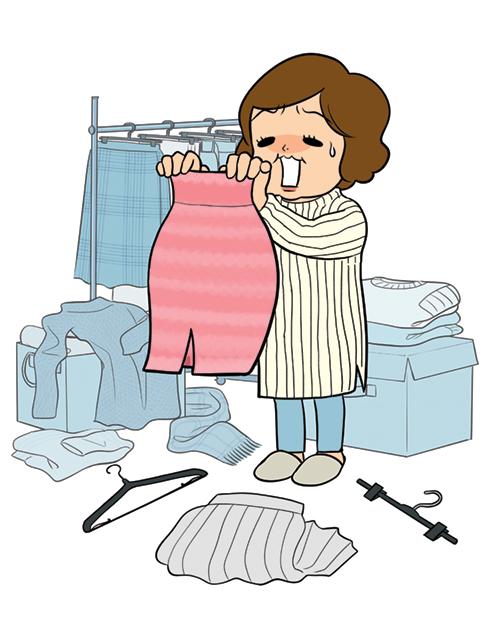 洋服が着られずに困っている女性