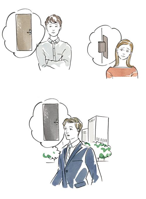 考え事をする人たちのイラスト