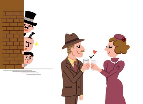 乾杯する男女のイラスト