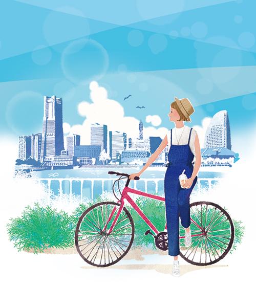 夏の横浜近辺でサイクリングしているイラスト
