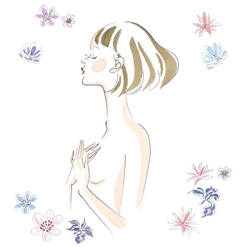 目をつむった女性の上半身イラストとお花のイラスト