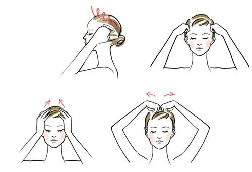 頭のマッサージをしている女性のイラスト