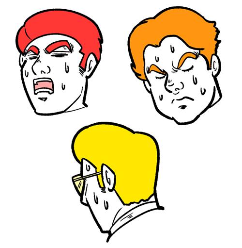 困惑している男性イラストの表情バリエーション