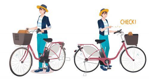 自転車と女性のイラスト