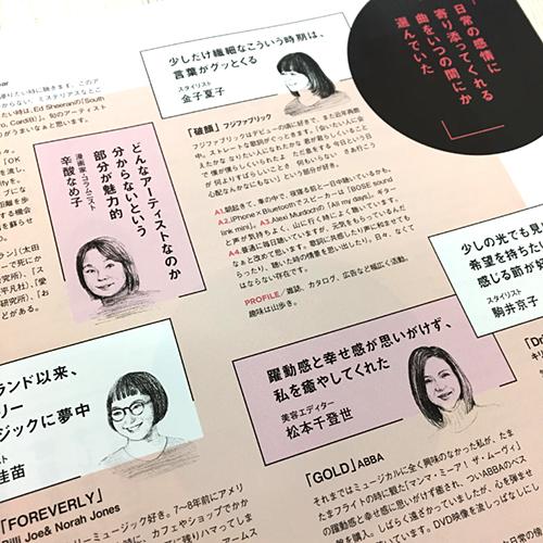 吉岡香織が描いた似顔絵イラストを掲載している雑誌