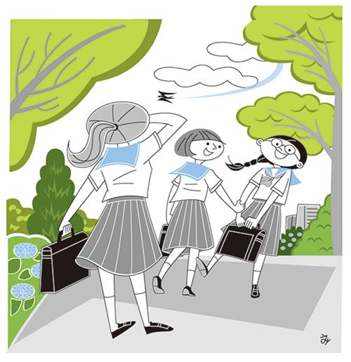 女子生徒が通学中のイラスト