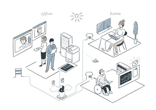 俯瞰の未来オフィスイメージイラスト