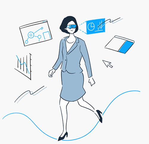 未来の働く女性のイメージイラスト