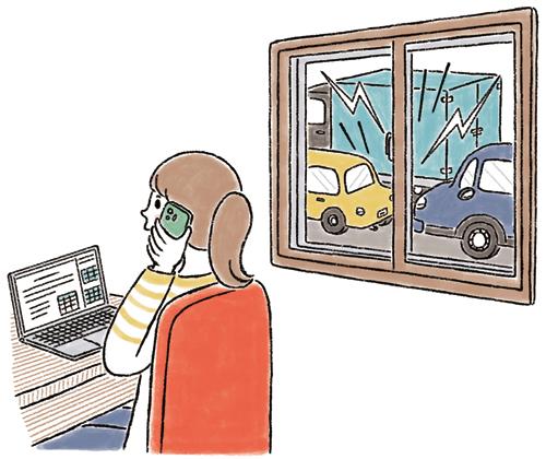 騒音に困りながら電話している女性のイラスト