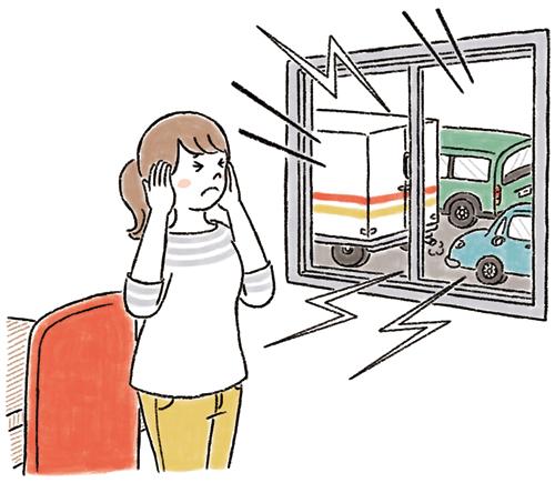 騒音で困っている女性のイラスト