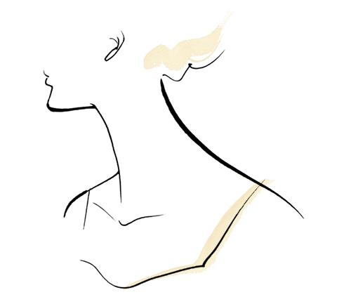 シンプルな線画で描いた女性の上半身のイラスト