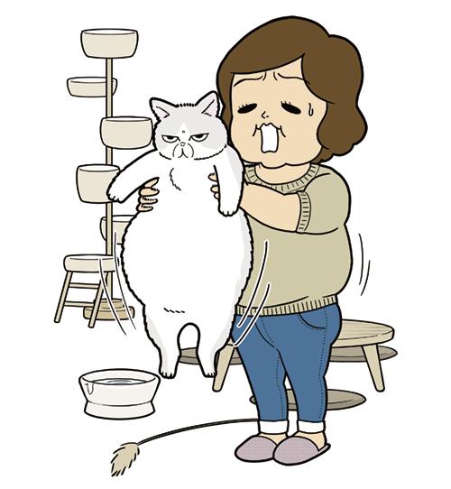 太った猫を抱く女性のイラスト
