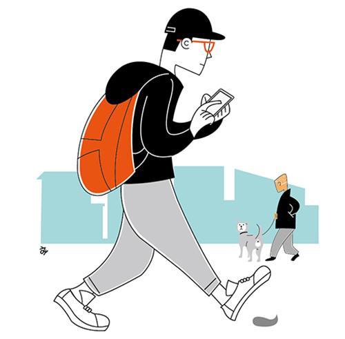 スマホを見ながら歩く男性のイラスト
