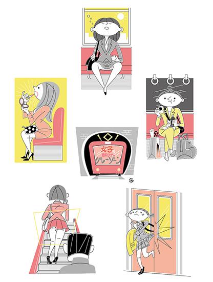 電車での女性のマナーのイラスト