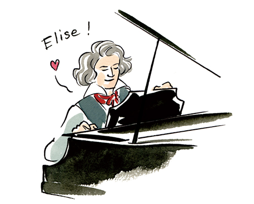 ベートーベンがピアノを弾いているイラスト