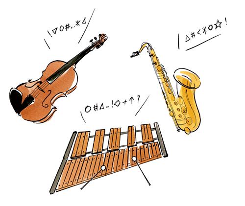 バイオリン、木琴、サックスのイラスト