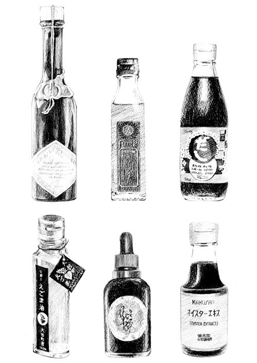 調味料の瓶などのアイテムイラスト