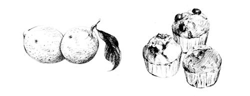 パンケーキや果物のイラスト