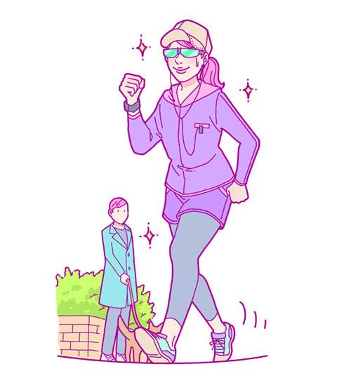 ウォーキングする女性のイラスト