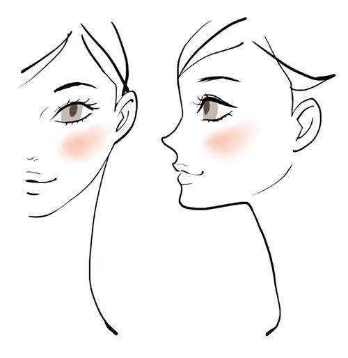 線画で描いた女性のおしゃれな横顔