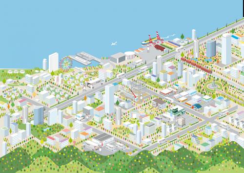 街の俯瞰図イラスト