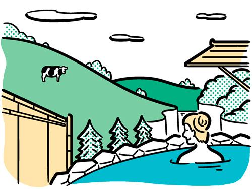 女性が温泉につかっている風景のイラスト