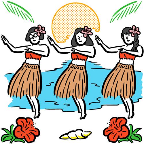 ハワイアンを踊る女性のイラスト