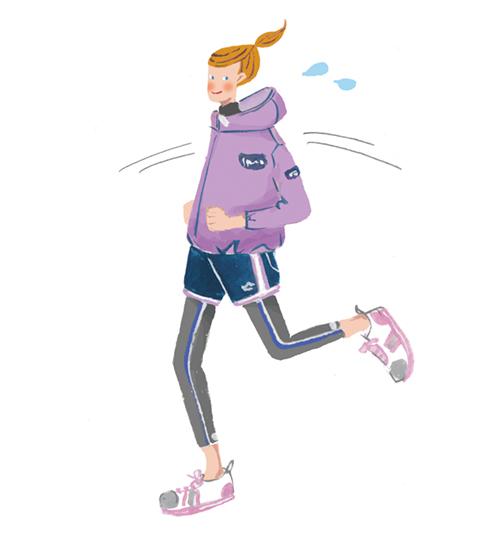ジョギングする女性のイラスト