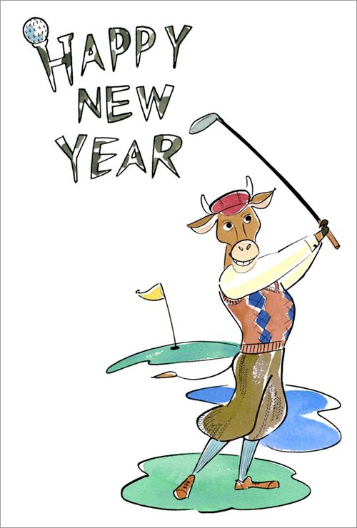 ゴルフをする牛のイラスト