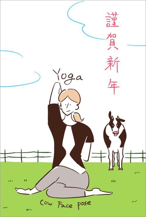 ヨガをしている女性と牛のイラスト