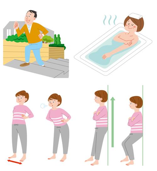 ウォーキングする男性、お風呂につかる女性のイラスト、体操する女性のイラスト