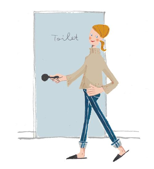 トイレへ行く女性のイラスト