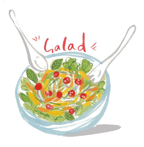 サラダ料理のイラスト